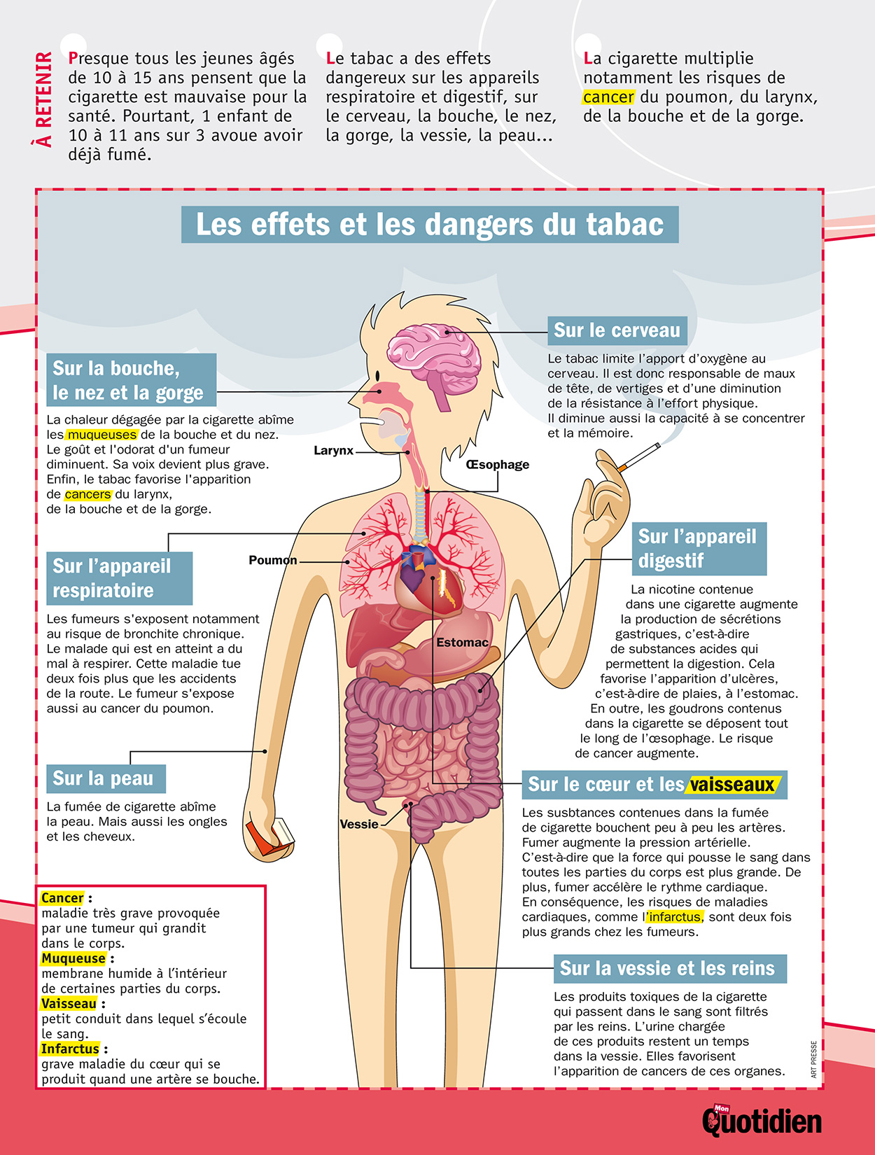infographie mon quotidien les effets et les dangers du tabac lig 39 up communaut ducative. Black Bedroom Furniture Sets. Home Design Ideas